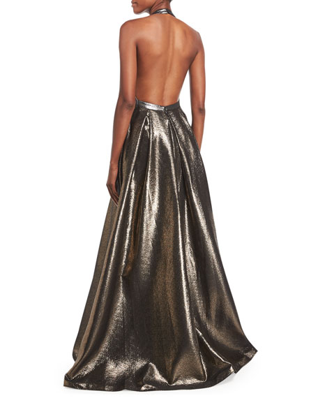 Plunging Halter Sleeveless Metallic Evening Gown