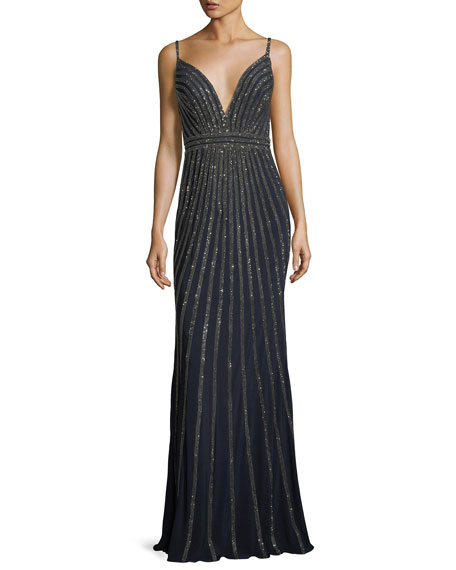 Stripe Plunging Sleeveless Embellished Evening Gown