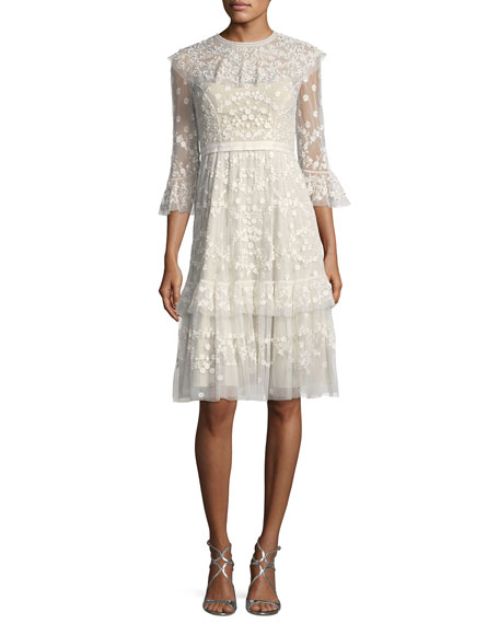 Shadow Lace Tulle Embellished Midi Cocktail Dress