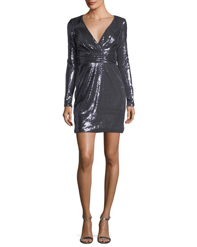 Long-Sleeve Surplice Sequin Cocktail Dress