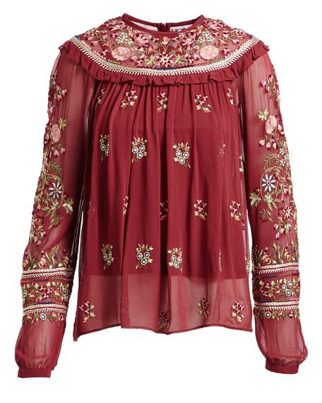 Victorian Folk Long-Sleeve Georgette Blouse
