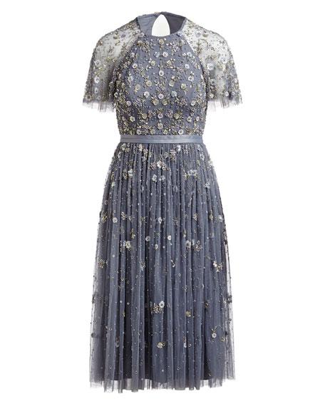 Comet Victorian Floral Lace Midi Cocktail Dress