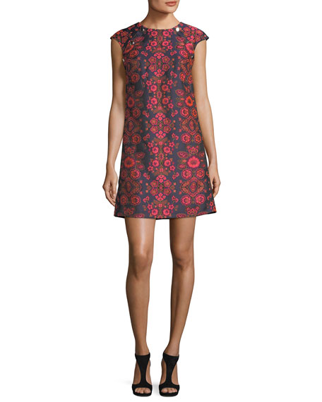 Floral-Jacquard Cap-Sleeve Shift Dress w/ Buttons