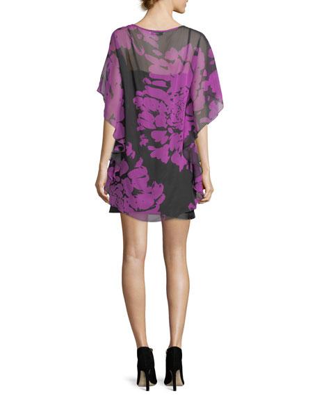 Floral-Printed Silk Caftan Dress