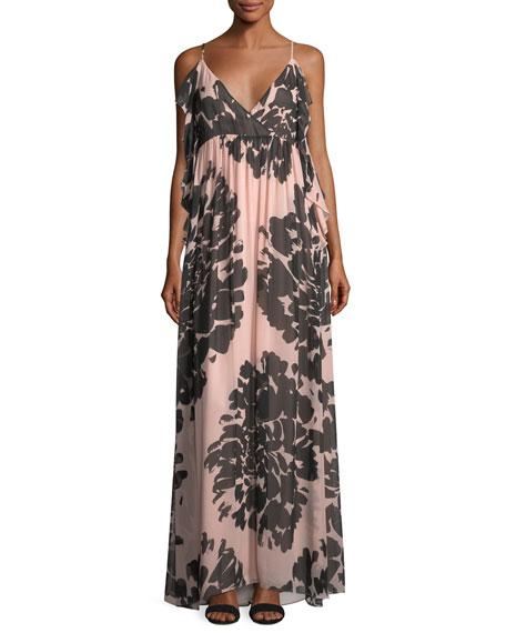Trina Turk Surplice Sleeveless Floral-Printed Silk Chiffon Maxi