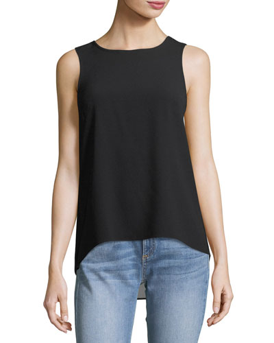 Harper Round-Neck Sleeveless Crepe Top w/ Back Vent
