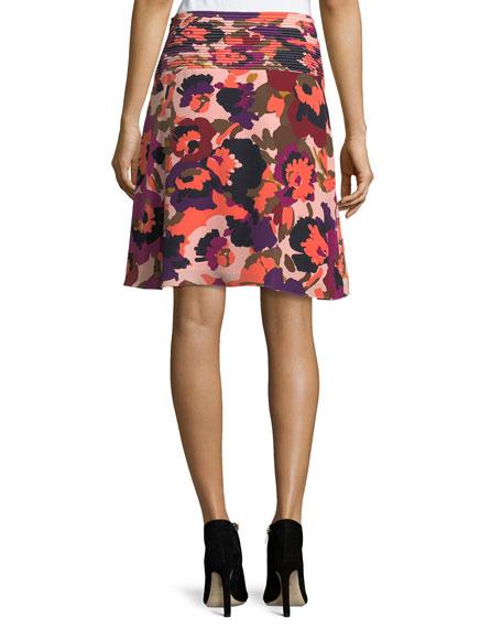 Floral-Print A-Line Silk Skirt w/ Pintuck Details