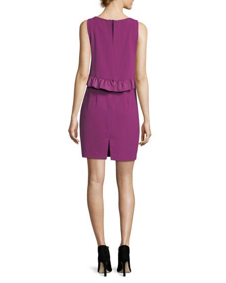 Carmel Sleeveless Round-Neck Sheath Dress w/ Popover + Ruffle