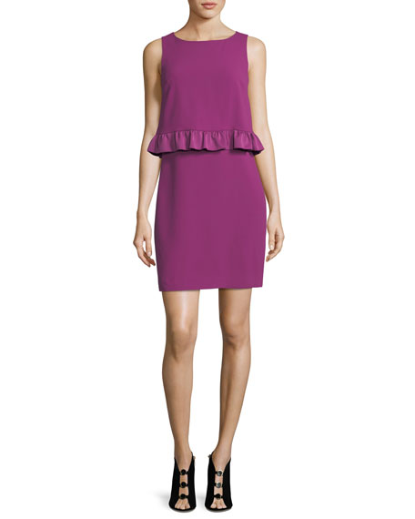 Carmel Sleeveless Round-Neck Sheath Dress w/ Popover + Ruffle