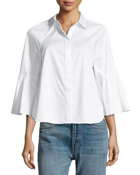 Bell-Sleeve Button-Front Top