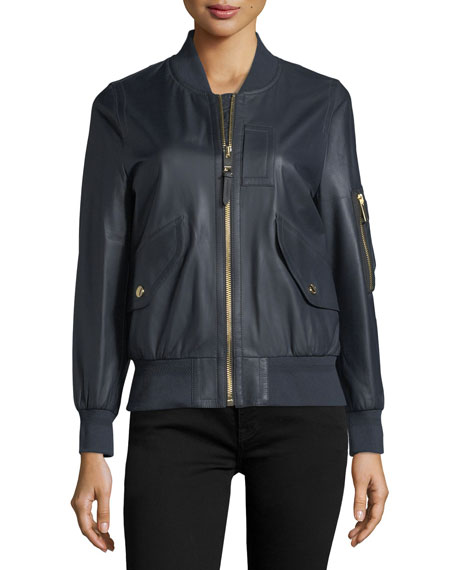Penhale Lightweight Leather Bomber Jacket