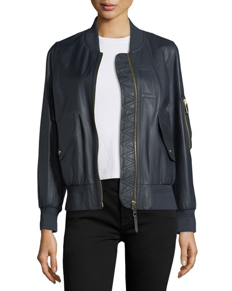 Burberry Penhale Lightweight Leather Bomber Jacket