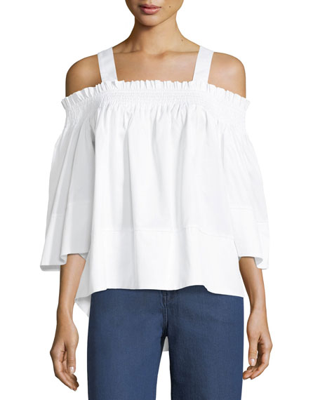 Kendall + Kylie Off-the-Shoulder Smocked-Collar Top