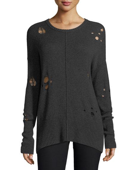 Distressed Ribbed-Hem Crewneck Sweater