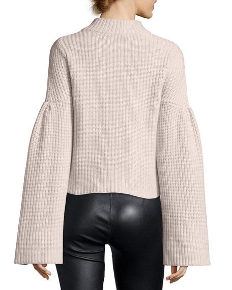 Mock-Neck Trumpet-Sleeve  Sweater