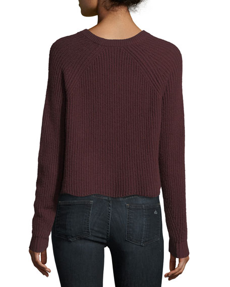 Scalloped Shaker Crewneck Long-Sleeve Cashmere Sweater