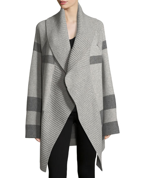 Check Open-Front Coat Cardigan
