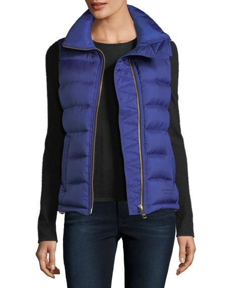 Burberry Bredon Down Zip-Front Vest, Cobalt