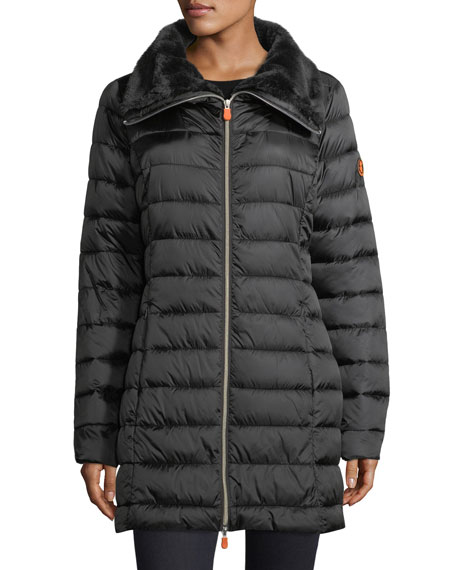 Iris Iridescent Quilted Puffer Coat