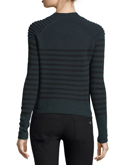 Breton Striped Mock-Neck Cashmere Sweater w/ Button Trim