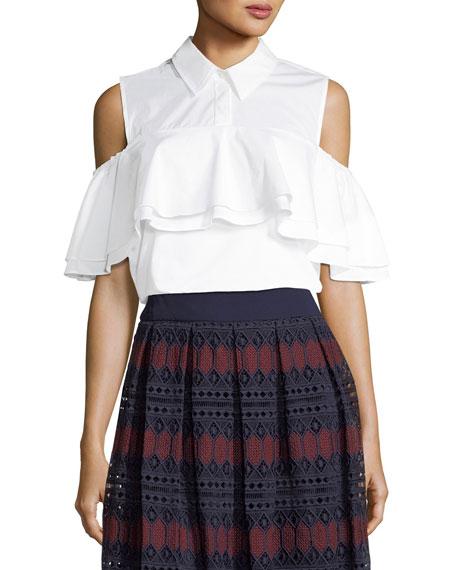 Polished Shirting Ruffled Cold-Shoulder Top