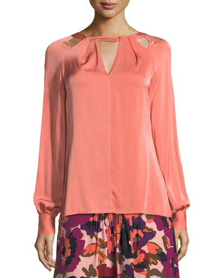 High-Neck Long-Sleeve Stretch Silk Blouse w/ Cutouts