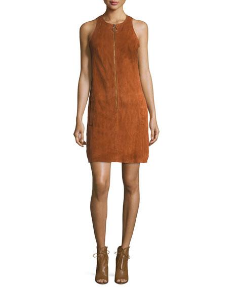 Jewel-Neck Sleeveless Zip-Front Suede Dress