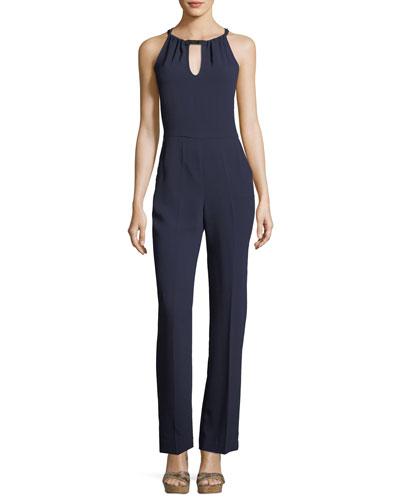 Sleeveless Straight-Leg Keyhole Crepe Jumpsuit