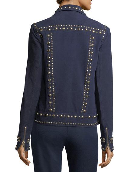 Zip-Front Suede Jacket w/ Studded Trim