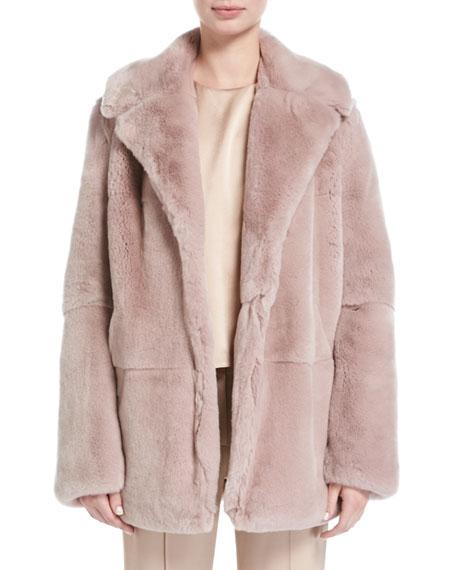A.L.C. Stone Notched-Collar Long-Sleeve Rabbit Fur Coat