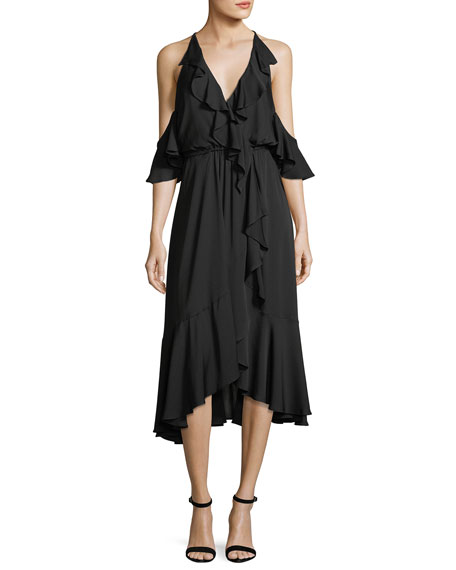 Milly Bryce Cold-Shoulder Ruffled Stretch-Silk Dress