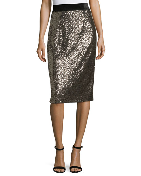 Milly Sequined Midi Pencil Skirt