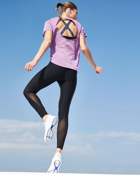 Breathe Short-Sleeve Draped-Back Performance Top