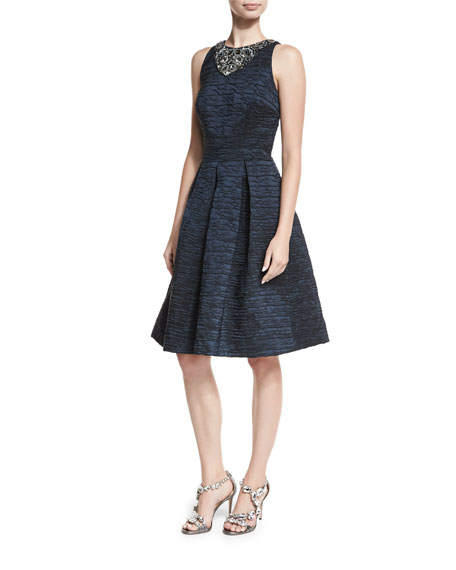 David Meister Brocade Fit-and-Flare Cocktail Dress