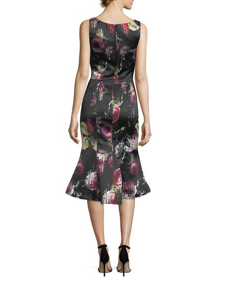 Sleeveless Floral-Print Flounce-Hem Midi Dress