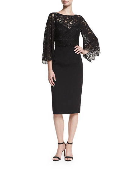 Trumpet-Sleeve Lace Cocktail Dress w/ Crepe Skirt