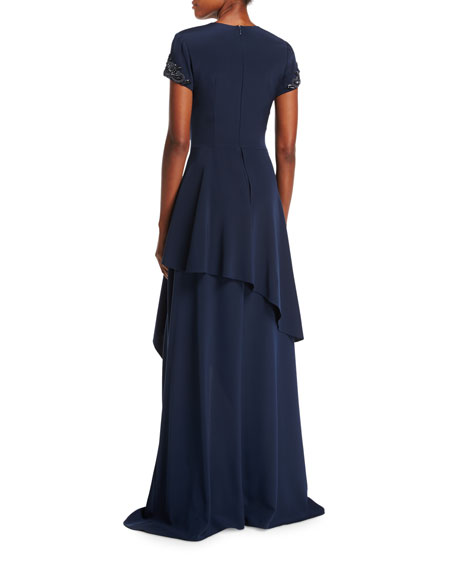 Short-Sleeve Beaded-Cuffs Tiered Evening Gown