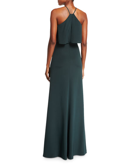 Halter-Neck Sleeveless Evening Gown w/ Jewel