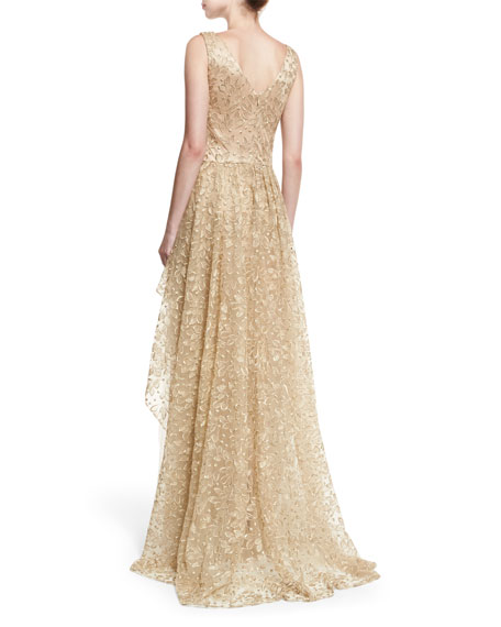 V-Neck Sleeveless Embroidered Tulle Evening Gown w/ Overskirt