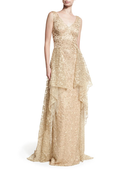 David Meister V-Neck Sleeveless Embroidered Tulle Evening Gown