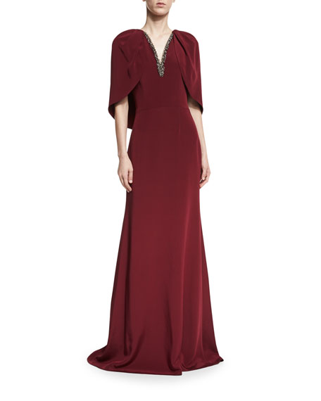 David Meister V-Neck Capelet Column Evening Gown w/