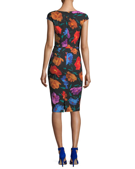 V-Neck Cap-Sleeve Floral-Print Sheath Dress
