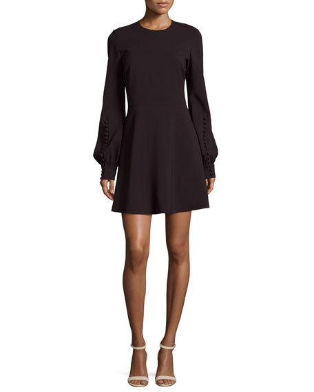 A.L.C. Lauren Jewel-Neck Blouson-Sleeve A-Line Dress