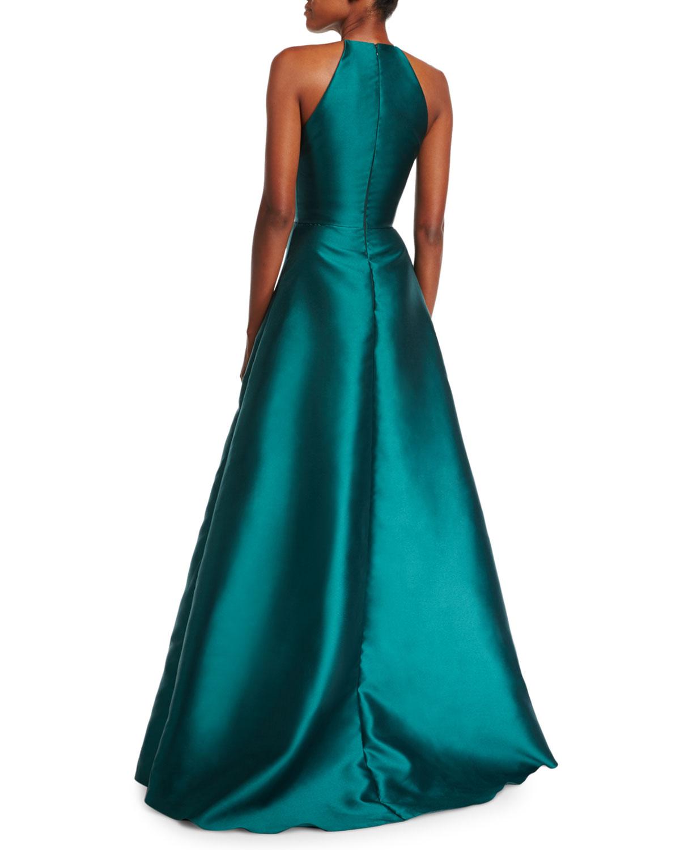 Badgley Mischka High-Neck Racerback Satin Sculptural Evening Gown ...