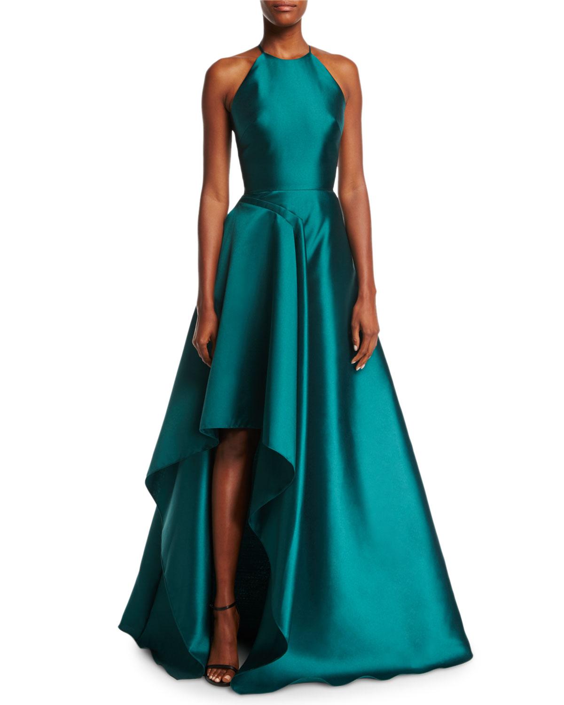 2d01deff3f Badgley Mischka High-Neck Racerback Satin Sculptural Evening Gown ...