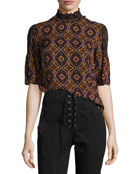 Miranda Printed Smocked-Collar Short-Sleeve Silk Top