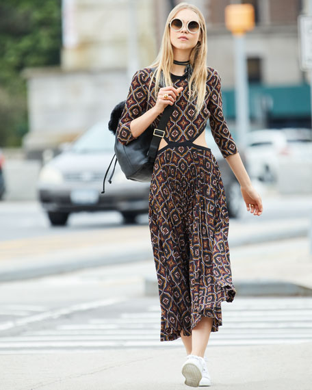 Holly Kaleidoscopic Cutout-Waist Pleated Midi Dress