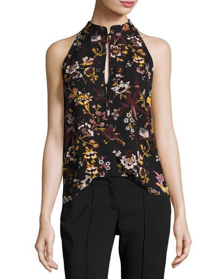 Keith Sleeveless Floral-Print Silk Top