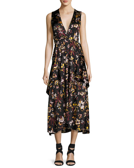 A.L.C. Verena V-Neck Sleeveless Floral-Print Satin Dress