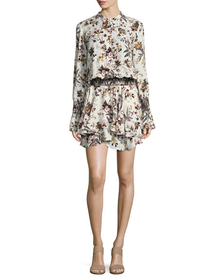 A.L.C. Landry Long-Sleeve Blouson Floral-Print Silk Dress